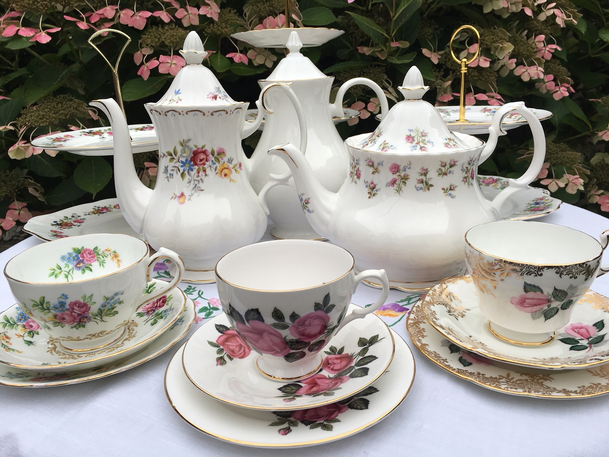 Mismatched vintage china