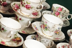 Mismatched vintage china - For hire Brentwood Essex